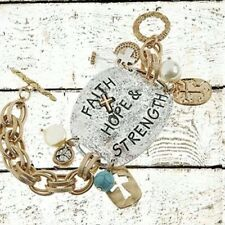 Tone Toggle Bracelet with Charms Faith Hope & Strength Two