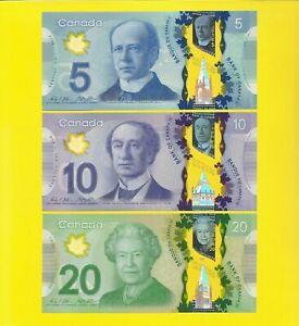 Canada $5 $10 $20 2012-13 POLYMER Wilkins/Poloz set of 3