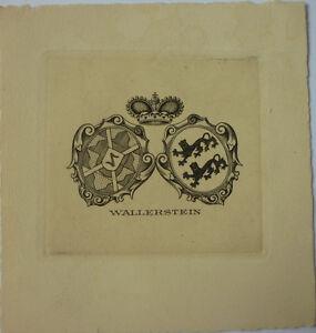 "Exlibris, Bookplate ""Wallerstein"" Jugendstil, Wappen/Adel (2)"