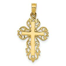 14k Yellow Gold Solid & High Polished Small Size Filigree Latin Cross Charm