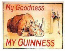 Guinness Tin Sign Rhino Zoo Keeper Dublin Ireland Irish Stout Bar Pub Lounge