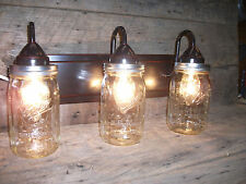 Mason Jar Light 3-Light Weathered Bronze Vanity Light with Authentic Ball Jars