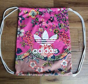 Adidas Drawstring Gym Bag Pink Floral