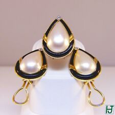 New Mabe Pearl & Black Onyx w Diamonds Ring & Earrings Set, 18k Yellow Gold