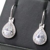 Gorgeous Pear Moissanite Earrings Drop Women Wedding Jewelry Gift Free Ship