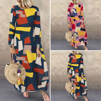 Plus Size UK 8-24 Women Printed Long Sleeve Ethnic Casual Loose Long Dress Robe