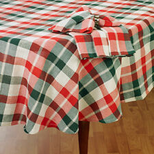 """Tartan Plaid Christmas Tablecloth Red Green & Gold Shimmer Detail 60""""x 84 OVAL"""