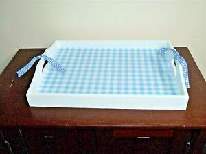 "NEW Farmhouse white blue buffalo check rectangle wood storage tray 15"" X 11"""