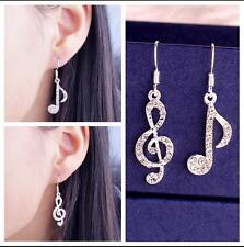 Women's .925 Silver Plated Treble Clef Musical Note Dangle Earrings Cubic Zircon