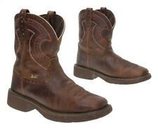JUSTIN Cowboy Boots 8 B Womens Leather Western Roper Boots Square Toe Gypsy