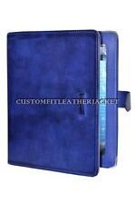 New iPad 2 3 & 4 cover Blue Nappa Luxury Real Genuine Leather Cover Case Stand