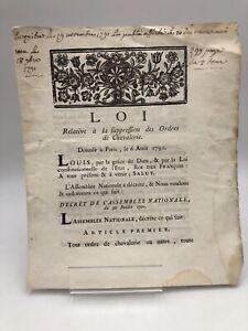 Louis XVI : Suppression des Ordres de Chevalerie. 1791