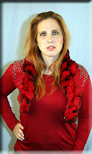 New Knit Red and Black Rex Rabbit Fur Scarf - Efurs4less