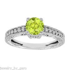 14K WHITE GOLD GREEN PERIDOT & DIAMOND ENGAGEMENT RING VINTAGE STYLE 1.14 CARAT