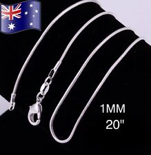 """925 Sterling Silver 1MM 20"""" Classic Snake Necklace Chain Wholesale Bulk Price"""
