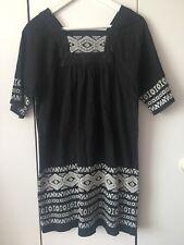 Topshop MOTO Black Denim Smock Dress With Embroidery Size UK 8