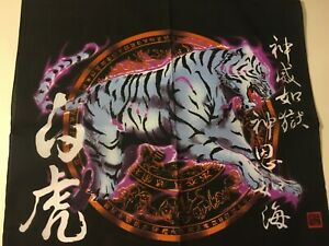 GREY TIGER  ON CHINESE  HOROSCOPE PRINT BANDANA IN COTTON AND POLYESTER.