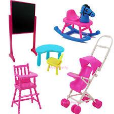 Trolley Blackboard Desk High Chair Baby Toy Furniture For Barbie Kelly Dollhouse