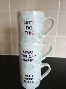 Set of 3 Next Marble Effect stackable Mugs