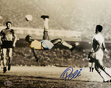 Pele Signed 11x14 Photo Spotlight Soccer Kick  - Autographed BAS Beckett COA