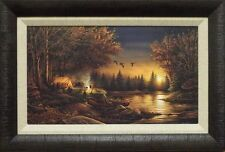 "Terry Redlin ""Evening Solitude"" Camping  Print Framed  23"" x 15.5"""