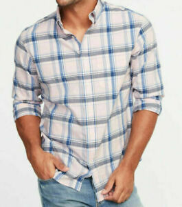 Casual Button Down Shirt Mens Small to Large Pink Plaid New Old Navy Flex Cotton
