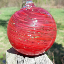 "Hanging Glass Ball 4"" Diameter Red Swirl Witch Ball (1) GB11-A"