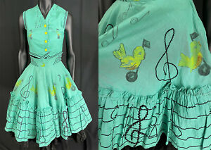 Vtg 50s Hand Painted Song Bird Musical Notes Novelty Print Circle Skirt Vest Top
