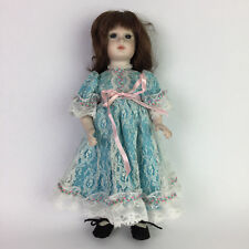 "Vtg 80s Handmade Porcelain Bisque Doll Jointed Signed 1984 14"" Tall Lace Dress"