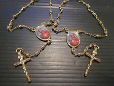 2x Gold plated Rosary Bracelet - with Madonna and cross  -  NRS