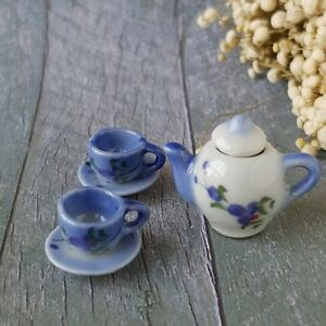 Dollhouse Miniatures Ceramic Tableware Coffee Tea Cup Set Hand Painted Orchid