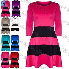 Viscose Scoop Neck Skater Striped Dresses for Women