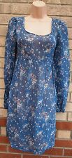 NEW LOOK LONG SLEEVE SEE THROUGH FLORAL BLUE SMOCK A LINE TEA DRESS 10 S