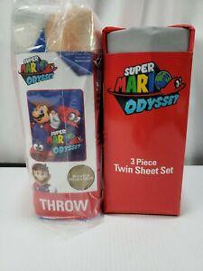 Super Mario Odyssey 3pc Twin Bedding Sheet Set & Throw Blanket