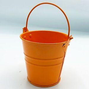 "Orange 4"" H Small Tin Bucket"