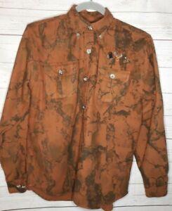 Wells Creek Camouflage Gopher Plantation Logo Shirt Youth XL Brown Cotton