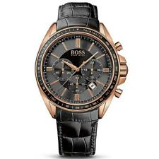 NEW AUTHENTIC HUGO BOSS 1513092 MENS ROSE GOLD DRIVERS SPORTS BLACK STRAP WATCH
