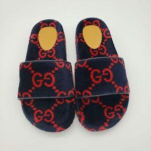 Gucci Terrycloth Monogram GG Sideline Sandals Slides | Blue Red | NEW