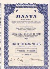 MANTA WAASMUNSTER coupure van 100 aandelen