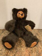 "Vintage ROBERT RAIKES 80s Cookie Brown Teddy Bear Wooden Face & Paws 12"""