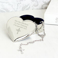 Personalised Cross Heart Trinket & Holy Rosary Beads Communion Christening Gift