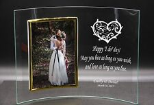 Personalised Wedding Anniversary Love Gift Idea Curved Glass Photo Frame 4 x 6