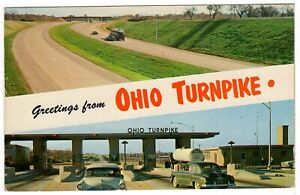 Old Cars 1963 Greetings from OHIO Turnpike Vintage Chrome Postcard