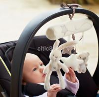 Kid Baby Crib Cot Pram Bed Stroller Hanging Plush Toy Rabbit Bear Bell& Music A^