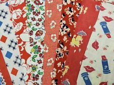"""Best 20 Vintage All Red Feedsack Fabric Quilt 5 x 8"""" Charms Flour Sack Pcs"""