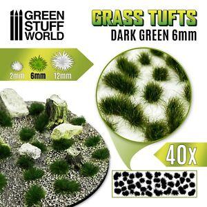 Grass TUFTS - 6mm self-adhesive DARK GREEN - Scenery Miniature Basing Warhammer