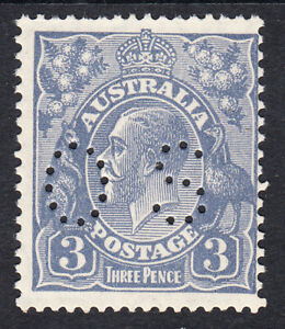 3d Deep Dull Blue KGV Die1a,Type A. Small Multiple Wmk,Perf 13½.Punctured OS MUH
