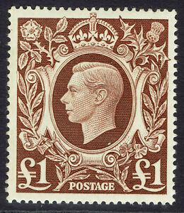 🇬🇧 GB KGVI SG478c - £1 BROWN - 1939 HIGH VALUE - MH FINE MINT - Sc #275