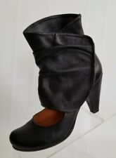 Coclico Lydian Slouch Ankle Booties Black Leather Cut Out Womens Shoes Sz US 7.5