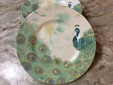 Lakshmi Peacock Salad Plates. Beautiful Peacock. 222 Fifth. Set Of 4. New.
